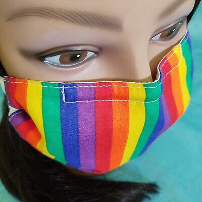 Handmade Washable Reusable Adult Rainbow Face Mask with 3 Layers Cotton/Blend
