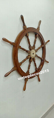 Nautical Vintage 42'' Ship Wheel Boat  Steering Maritime Handcrafted Wall Decor