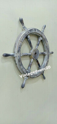 Nautical Vintage 24'' Ship Wheel Boat  Steering Maritime Handcrafted Wall Decor