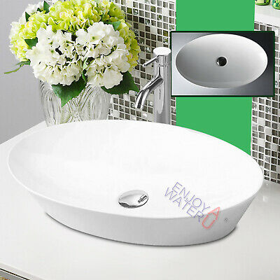 Bathroom Oval Vanity Counter Top Mounted White Art Basin Bowl Sink 610*365*120mm