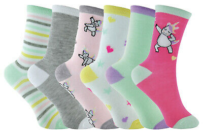6 Pairs Girls Striped Unicorn Socks in Pink Green & Cream with Hearts