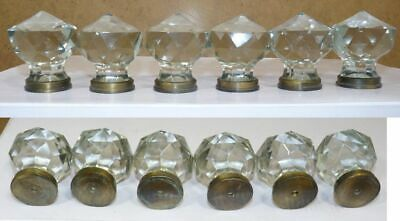 Chrome base mortice vintage style Salmon pink door knobs large cut glass pair