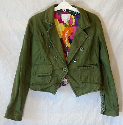 Girls Next Khaki Green Denim Look Buttoned Collared Short Jacket Age 9-10 Years