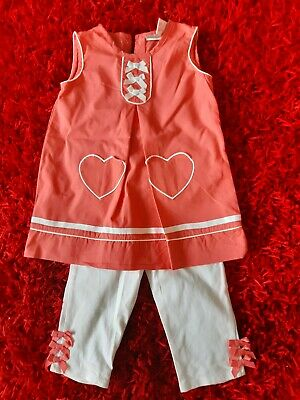 Girls coral dress and capri leggings outfit by Savannah size 2/3 yrs