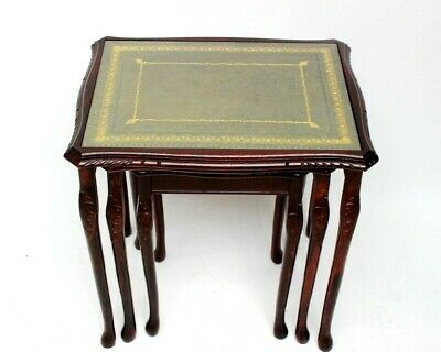 Vintage Mahogany Leather Top Nest of 3 Tables - FREE Shipping [ 6025A ]