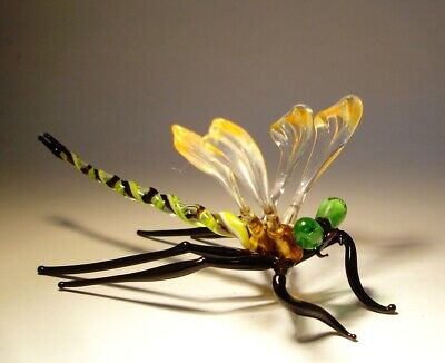 """Blown Glass """"Murano"""" Figurine Gorgeous Orange & Clear DRAGONFLY with Green Eyes"""