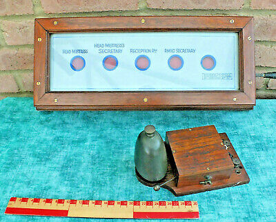 Genuine Antique Butlers / Servants Bell Indicator Box & Bell
