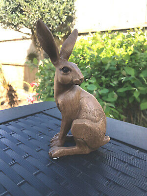 Hare Figurine Animal Kingdom Carved Wood Effect Small Sitting Statue Ornament
