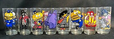 Vintage 1970's McDonald's Drinking Glass Set Collector Series Set Of 8 Glasses