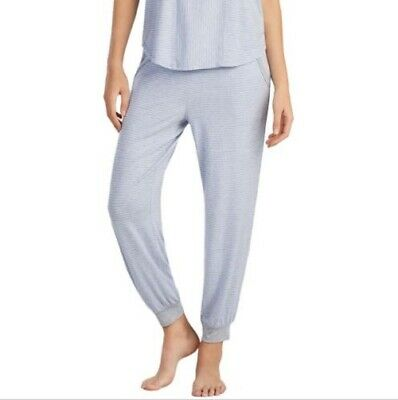 DKNY Women's Cropped Jogger Pajama Pants Gray Blue Stripe NWT Large L $52.00