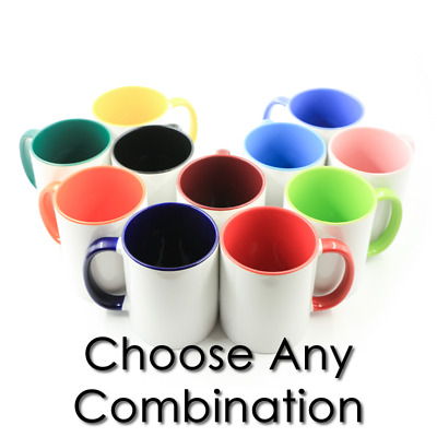 12pcs Sublimation Blanks Mugs, 11oz White/Two Tone Color. AAA Qty, Mix and Mach