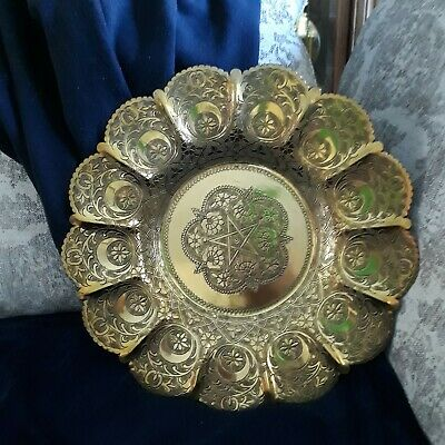Vintage hand made ornate floral brass wall hanging plate