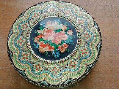 VTG Daher Round Tin Mosaic Floral Made in England  EUC
