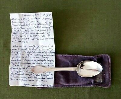 Rare !  Antique 1698 George Cox England Sterling Silver Spoon Rat Tail Spoon WH
