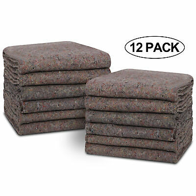 "12 Moving Blankets Ultra Thick Pro - 54"" x 72"" Grey Textile Skins  Furniture Pad"
