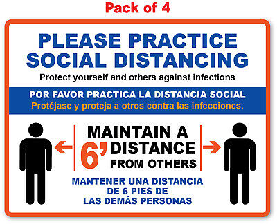 4 - SOCIAL DISTANCING STICKER English / Spanish - Sign 19 VIRUS Business Office