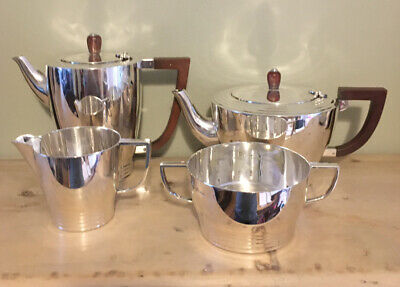 Solid Silver Art Deco Style 4 Piece Tea Set 1947