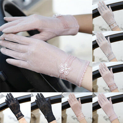 Women Summer Driving Thin Lace Gloves Outdoor Uv Protection One Size New BLD Hs
