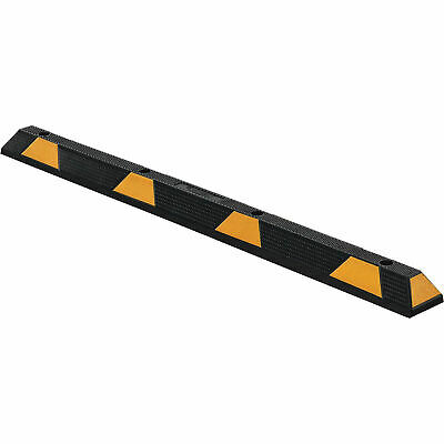 """Parking Stop/Curb Block, 72"""" Rubber, Black With Yellow Stripes"""