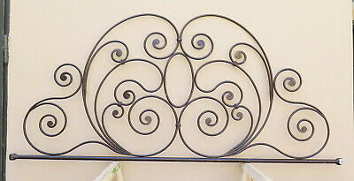 Bed Header for Double Bed Wrought Iron Headboard a Tail Peacock Vintage 12