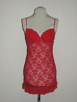 Victoria's Secret Red All Over Floral Lace Baby Doll (36B)