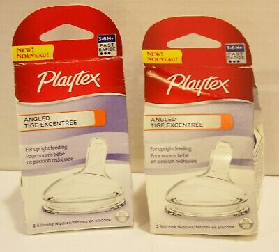 Playtex Baby Angled Fast Flow Silicone Nipples, 3-6m, 4pc