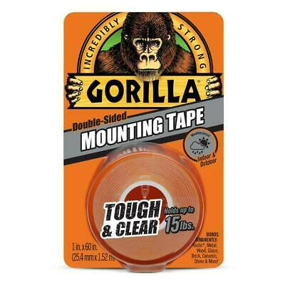 Gorilla Mounting Tape Double Sided Adhesive Roll Strong Hold 1 in x 60 in, Clear