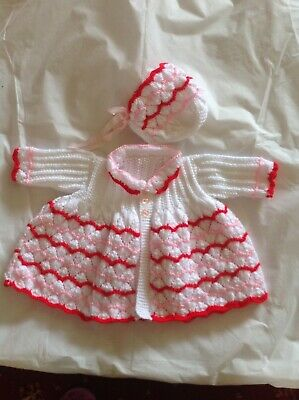 Brand New hand knitted baby cardigan with bonnet, white, pink & red Wool.