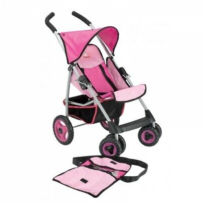 Chica Deluxe 4 Wheels Doll Stroller with Rain Cover Pink Pretend Play Toy