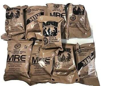 GENUINE US MILITARY WARFIGHTER INDIVUAL MRE MEAL (Meals Ready-To-Eat) Lot Of 9