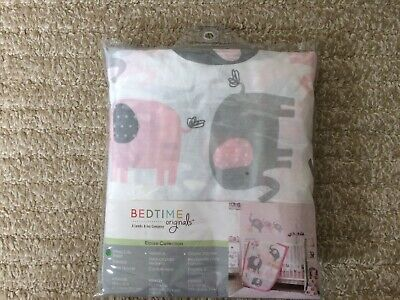 NEW Bedtime Originals Eloise Gray/Pink/White Elephant Baby Fitted Crib Sheet