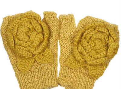 PEOPLE TREE for TOPSHOP KNITTED FLOWER WOOL PALM WARMERS GLOVES NEW