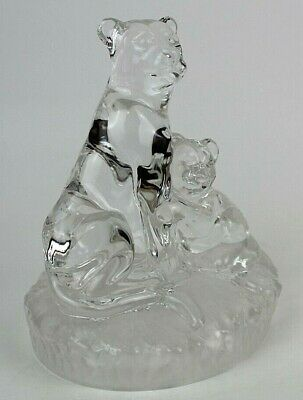 "Vintage Lion, Lioness & Cub Clear w/Frosted Base Crystal Figurine Statue 5.25"" H"