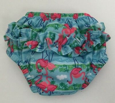 Iplay Baby Girl Swim Diaper 6M 10-18 Lbs Blue Pink Tropical Flamingos Ruffles