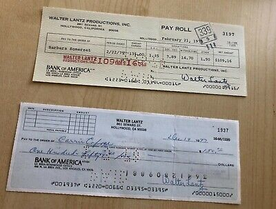 2 Mix   Walter Lantz Hand  Signed Check 'S  Personal