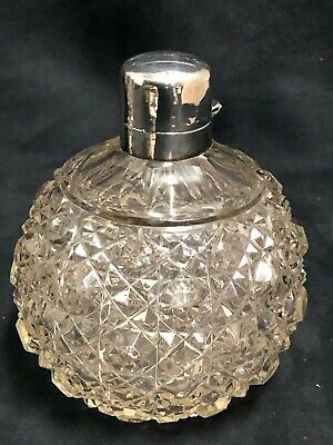 """Sterling silver and Crystal Perfume Bottle in Script """"Mother"""" Birmingham 1898"""