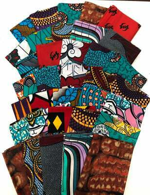 """ASSORTED FABRICS for Face Mask African Print Fabric in Bundle/ 5pcs of 17"""" x 45"""""""