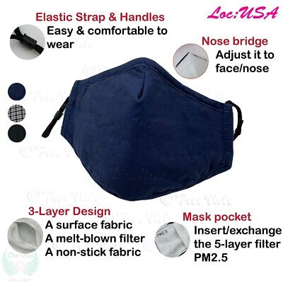 Adult Reusable Face Mask Washable Handmade + 2 filters USA Stock
