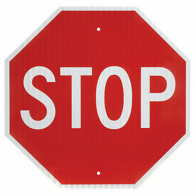 Stop, Aluminum Sign, .080mm Thick, White/Red