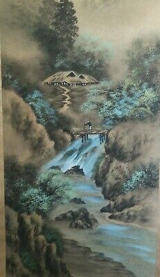 Japanese Vintage Beautiful Painted Scroll Of A Mountain Range And Waterfall