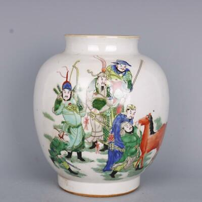Collection Chinese Qing Dynasty Porcelain Famille Rose Three Kingdoms Figure Jar