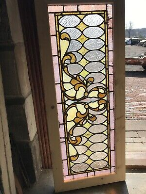 Sg 3260. Antique stained and textured glass transom window 19.75 x 48.75