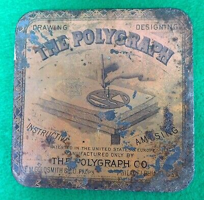 Rare E. M. Goldsmith The Polygraph Co. Drawing Designing Instrument In Tin Box