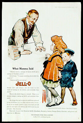 1919 JELL-O Super Cute ROSE O'NEILL Art Kids at Old Country Store Vtg PRINT AD