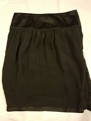Stella Mccartney For H&M Women's Silk Black Pencil Skirt With Side Vents 36