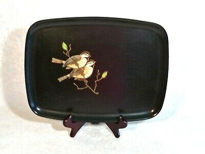 """Vintage Couroc of Monterey Inlaid Serving Tray two birds 13"""" X 9 3/4"""""""
