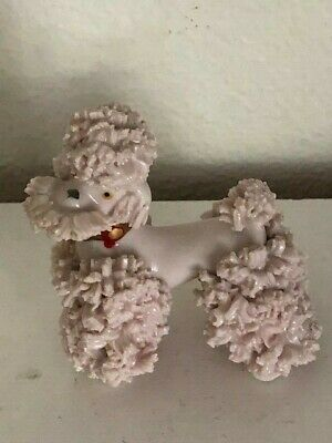 Vintage Pink Spaghetti French Poodle Figurine W/ Gold Collar