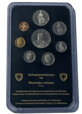 Swiss 1991 uncirculated 8 Coin Set, with Rare 1991 B 5 FR Coin (Mintage 26,100)