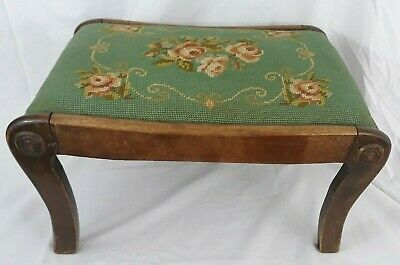 Vintage Wood Footstool Needlepoint Floral Peach Flowers Green Victorian Shabby