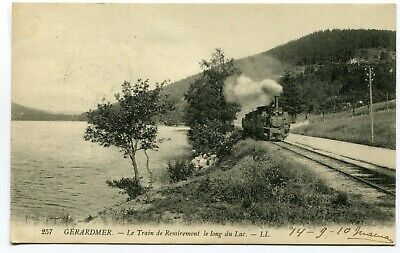 CPA - Carte Postale - France - Gérardmer - Le Train de Remiremont le long du Lac